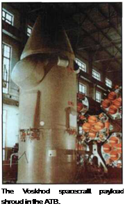 Подпись: The Voskhod spacecraft payload shroud in the ATB.