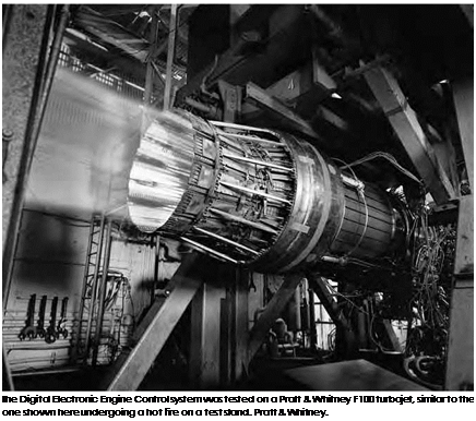 Подпись: The Digital Electronic Engine Control system was tested on a Pratt & Whitney F100 turbojet, similar to the one shown here undergoing a hot fire on a test stand. Pratt & Whitney.