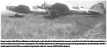 Подпись: A large number of the WS aircraft that were lost during the rapid retreat in the first weeks of the war were never filed in the official Soviet loss reports. Many of these aircraft were found intact and undamaged on the airfields captured by the advancing German ground troops. Hauptmann Gerhard Baeker of lll./KG 1 look this photo of intact SBs on an airfield occupied by his unit in the summer of 1941. (Photo: Baeker.)