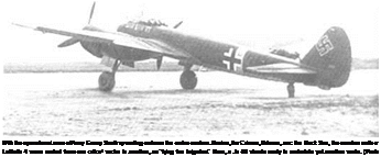"Подпись: With the operational area of Army Group South spreading out over the entire eastern Jkraine, the Crimea, Odessa, anc the Black Sea, the oomber units of Lufttlotte 4 were rushed from one crif.ca1 sector to another, as ""flying fire brigades."" Here, a Ju 88 stands ready to undertake yet another sortie. (Pnoto: Roba.',"
