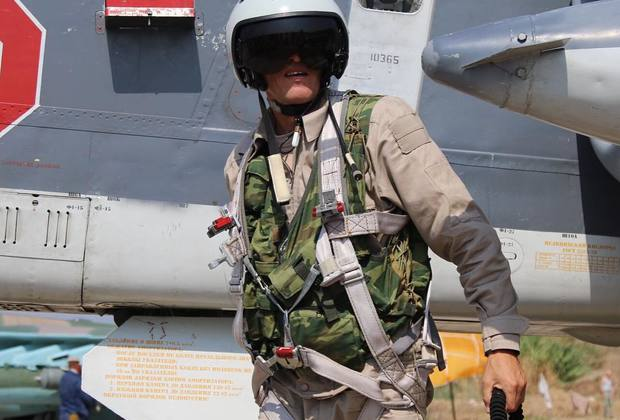 The first photo of the Russian pilot on the Syrian base